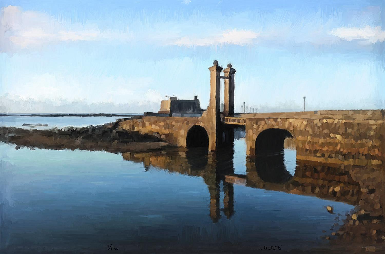 Cuadro de Jorge Marsá del Puente de las Bolas en calma