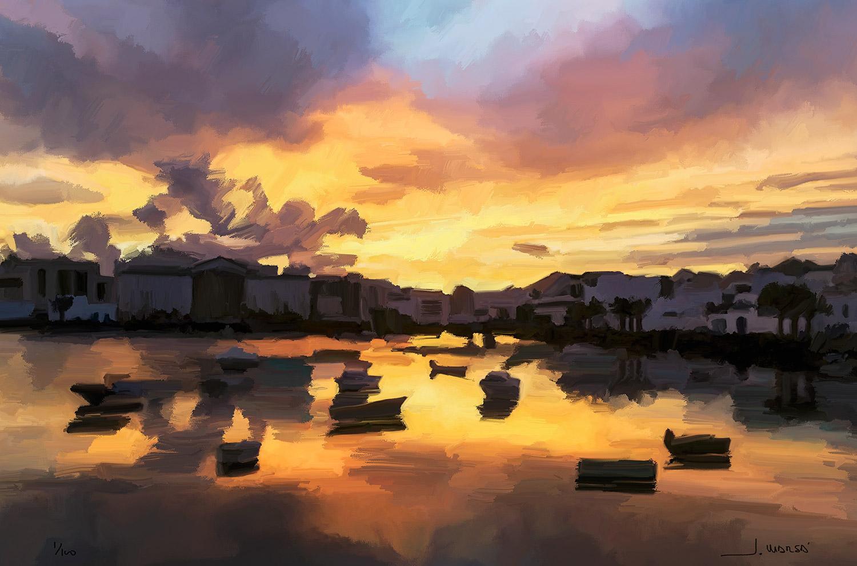 Pintura digital de Jorge Marsá: Atardecer en Arrecife I