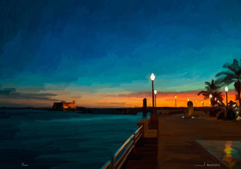Pintura digital de Jorge Marsá: Atardecer en Arrecife III