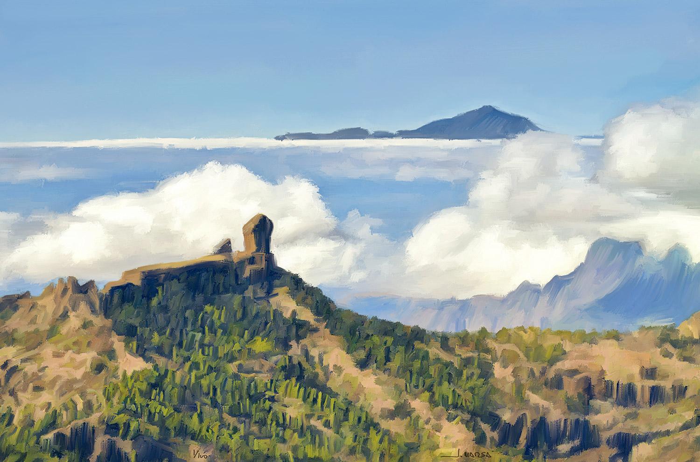 Pintura de Jorge Marsá Mar de nubes entre el Roque Nublo y el Teide