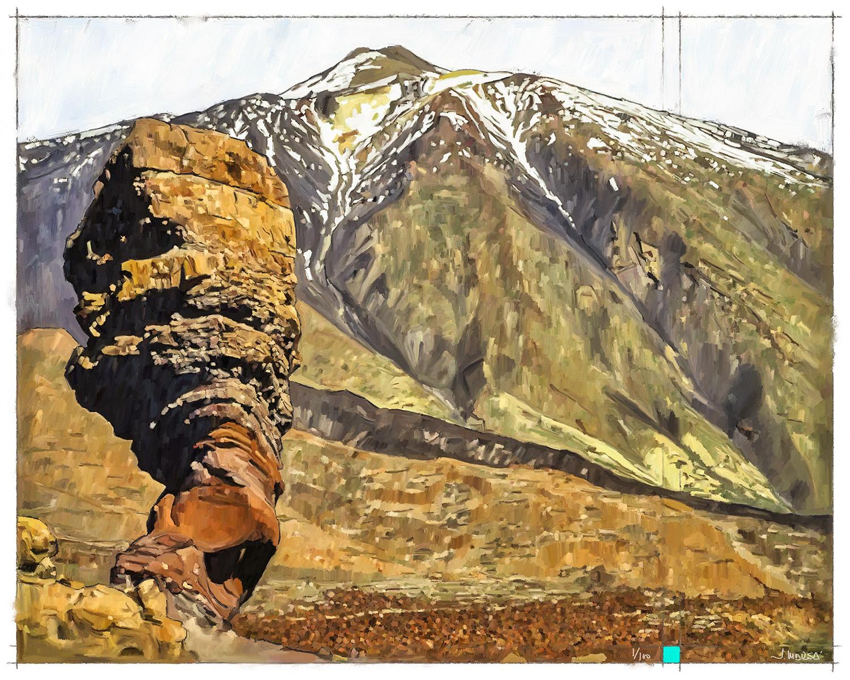 Pintura digital de Jorge Marsá de El Teide desde el Roque