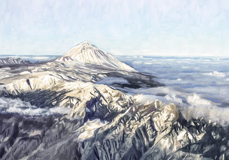 Pintura digital de Jorge Marsá de Nieve y mar de nubes sobre el Teide
