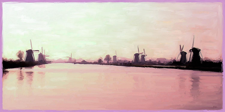 Pintura de Jorge Marsá: Molinos de Holanda