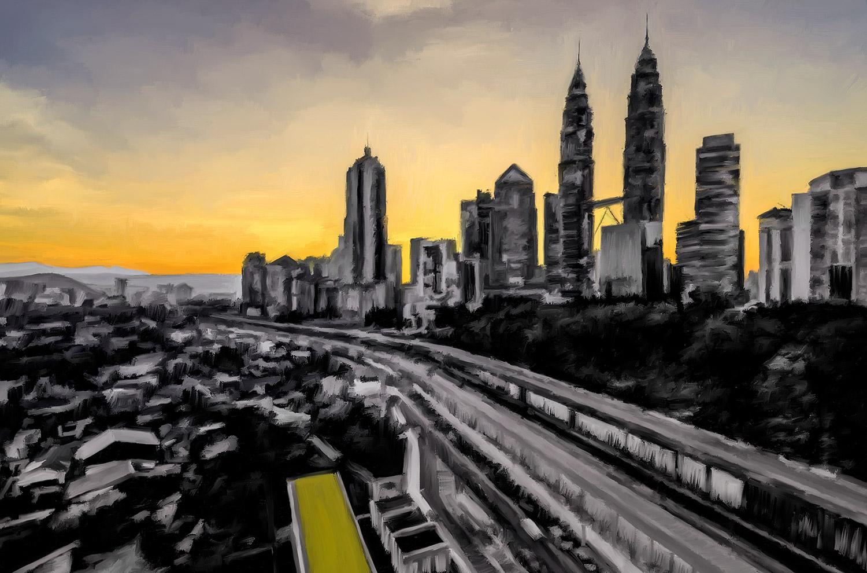 Pintura de Jorge Marsá de Amanece en Kuala Lumpur