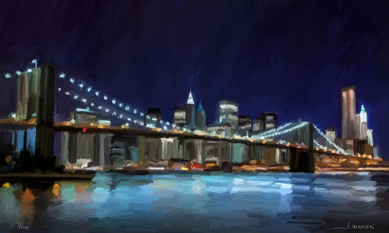 Pintura de Jorge Marsá: Nueva York de noche