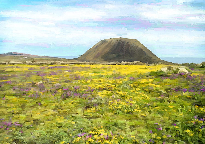 Pintura digital de Jorge Marsá de El volcán de la Corona