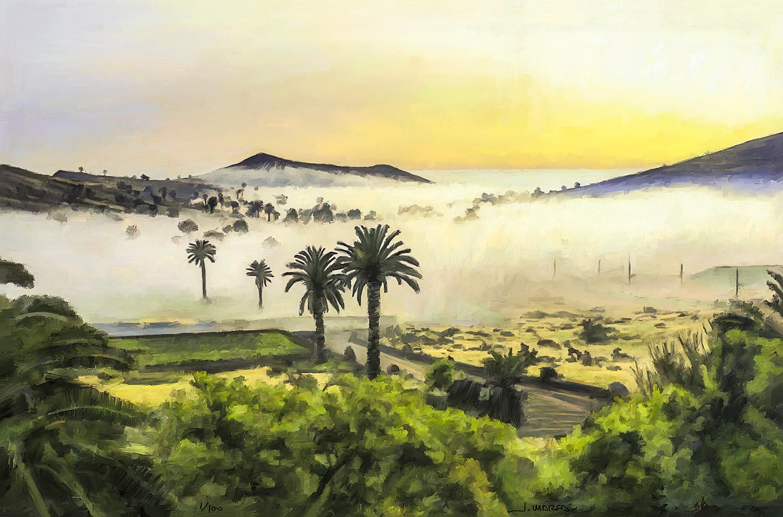 Pintura de Jorge Marsá de Amanece en el valle de Haría