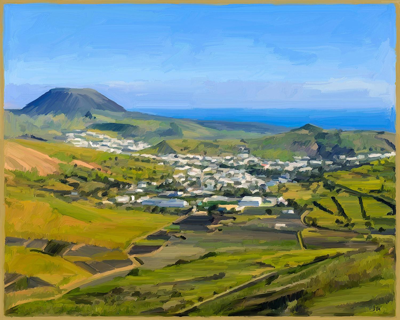Pintura de Jorge Marsá: Haría en verde