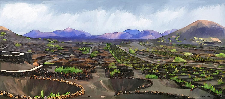 Pintura de Jorge Marsá de La Geria después de la lluvia