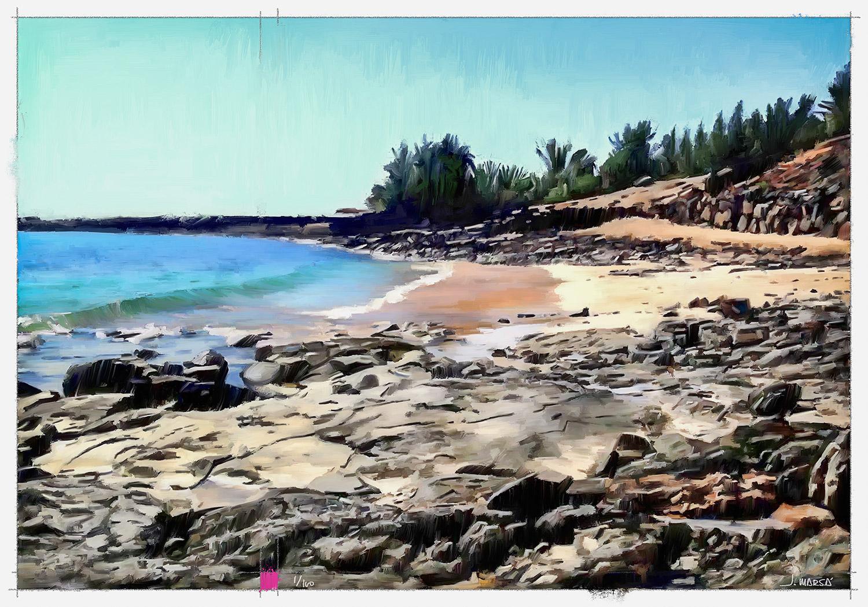Pintura digital de Jorge Marsá de la Playa del Ancla
