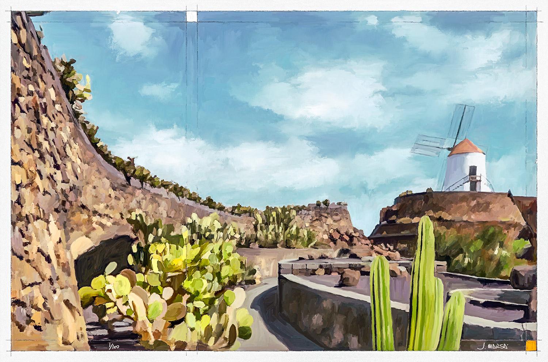Pintura de Jorge Marsá del Jardín de Cactus