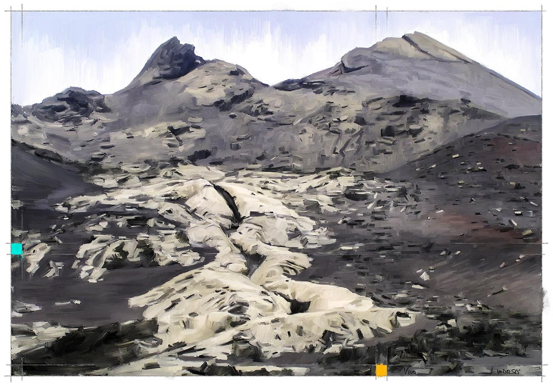 Pintura digital de Jorge Marsá del Volcán de Pico Partido