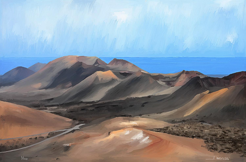 Pintura de Jorge Marsá de Cadena de volcanes de Timanfaya