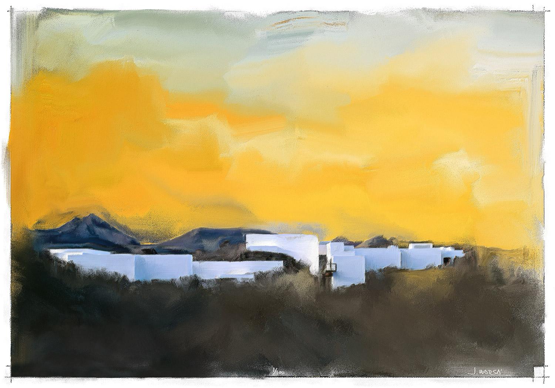 Pintura de Jorge Marsá del Centro de Visitantes de Timanfaya
