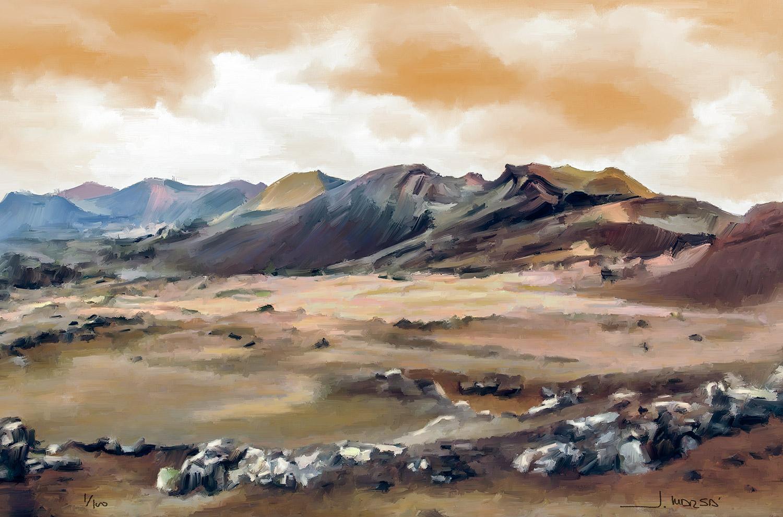Cuadro de Jorge Marsá de Nubes sobre Timanfaya