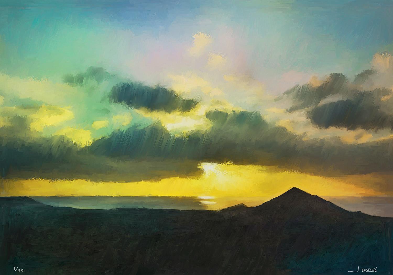 Pintura de Jorge Marsá de Anochece en El Golfo